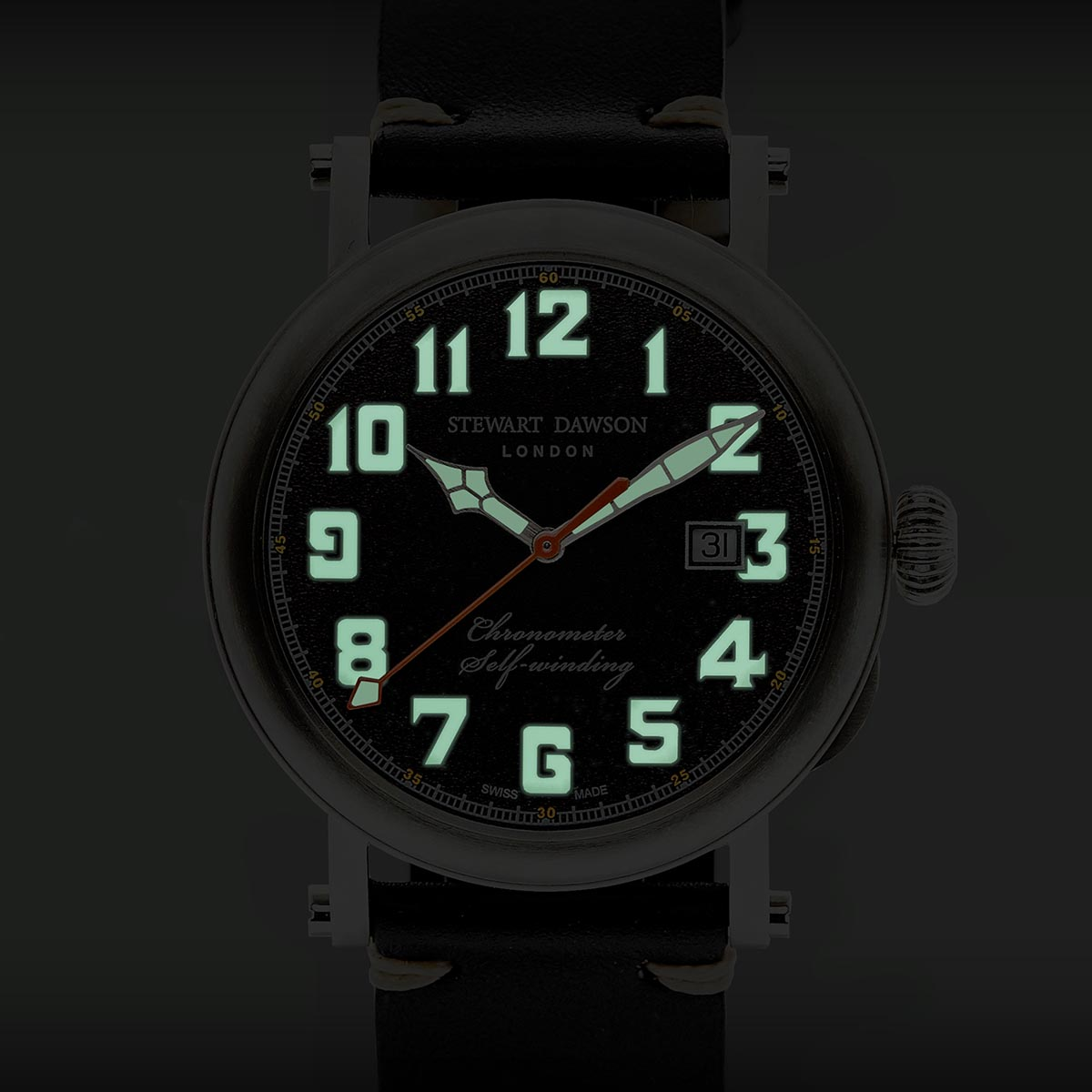 Stewart Dawson London Darkest Hour SuperLuminova Display Dial